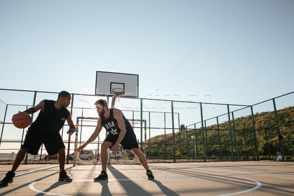 Portrait deux jouer basket aire de jeux extérieur Photo stock © deandrobot