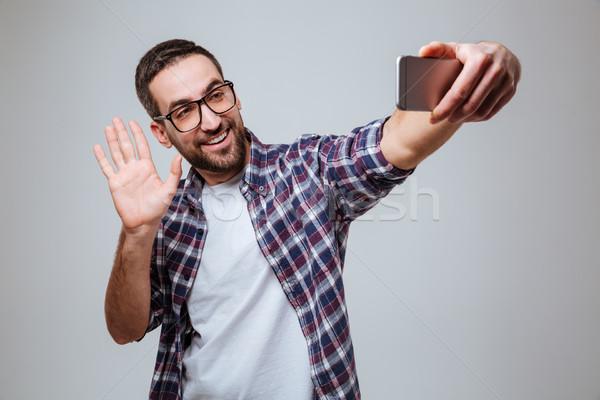 Barbado hombre teléfono cámara Foto stock © deandrobot
