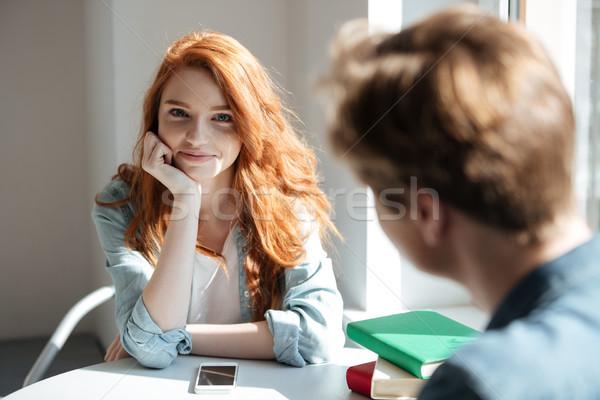 Portré aranyos vörös hajú nő diák kávézó nő Stock fotó © deandrobot