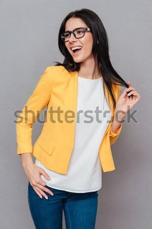 Portret peinzend jonge asian vrouw bril Stockfoto © deandrobot