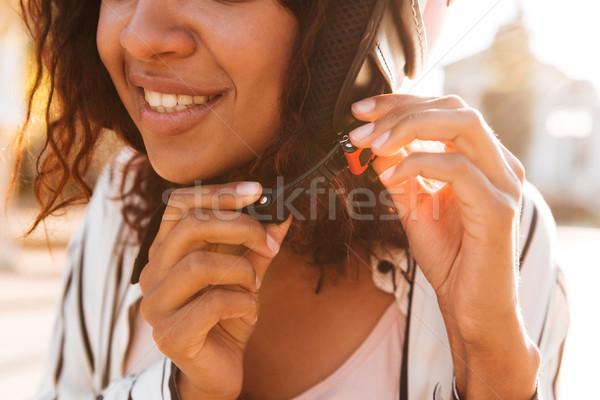 Resim mutlu Afrika kadın moto kız Stok fotoğraf © deandrobot