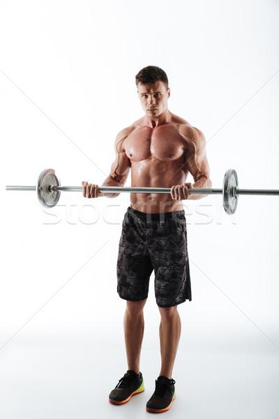 Teljes alakos portré erős sportos sportok férfi Stock fotó © deandrobot