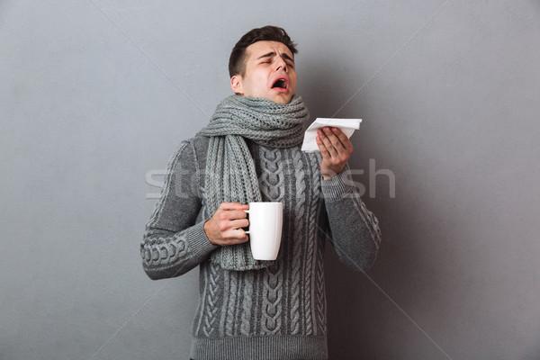 Hasta adam kazak eşarp çay Stok fotoğraf © deandrobot