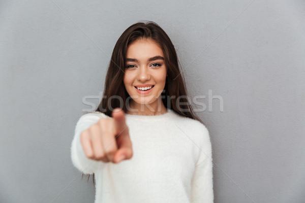 Alegre moça bonita branco fofo indicação Foto stock © deandrobot