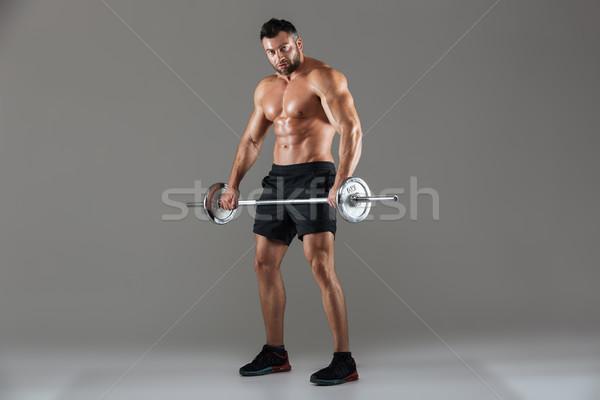 肖像 筋肉の 深刻 シャツを着ていない 男性 ストックフォト © deandrobot