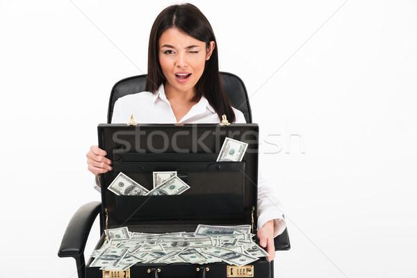 Portré ázsiai üzletasszony tart nyitva aktatáska Stock fotó © deandrobot