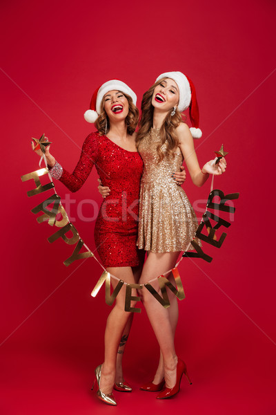 Full length portrait of two excited laughing women Stock photo © deandrobot