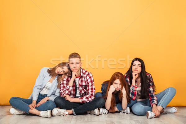 группа молодые скучно школы друзей сидят Сток-фото © deandrobot