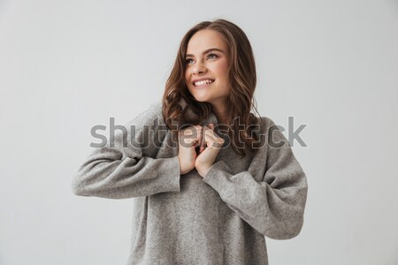 Zadowolony zmysłowy brunetka kobieta sweter Zdjęcia stock © deandrobot