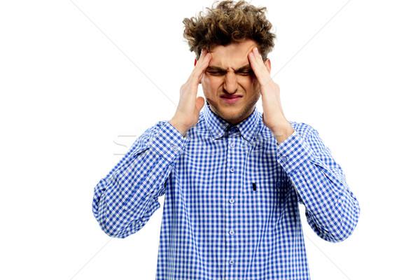 Jonge man hoofdpijn witte gezondheid jonge hoofd Stockfoto © deandrobot