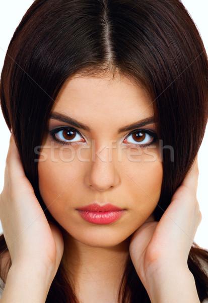 Primo piano ritratto giovani bella donna toccare capelli Foto d'archivio © deandrobot