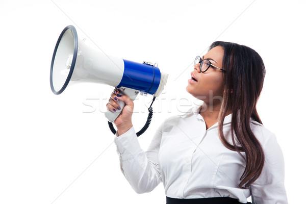 Africano empresária megafone isolado branco Foto stock © deandrobot