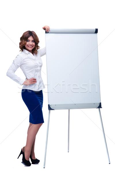 女性実業家 立って メモ帳 肖像 幸せ ストックフォト © deandrobot