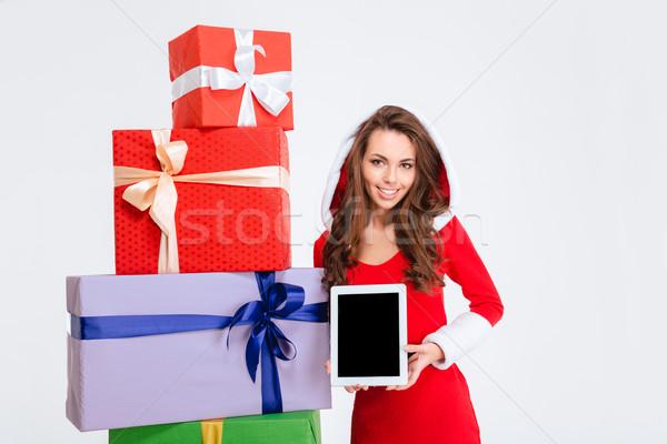 Kadın bilgisayar ekranı portre gülümseyen kadın noel baba Stok fotoğraf © deandrobot