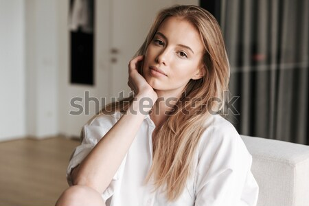 Portrait of beautiful sensual young blonde woman in bathrobe  Stock photo © deandrobot