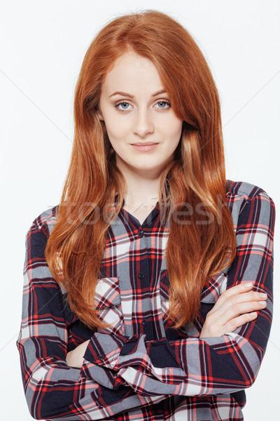 Heureux femme bras pliées permanent Photo stock © deandrobot
