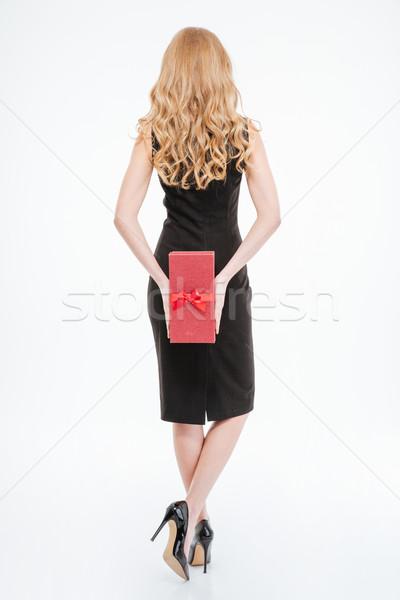 Ver de volta mulher longo cabelos cacheados apresentar Foto stock © deandrobot
