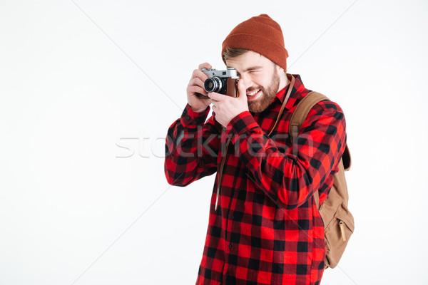Mannelijke reiziger foto camera geïsoleerd Stockfoto © deandrobot