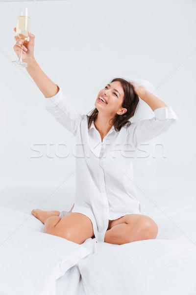 Gyönyörű fiatal menyasszony eljegyzés buli iszik Stock fotó © deandrobot