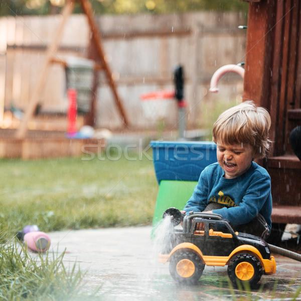 Chłopca pralka funny obraz dziecko zabawy Zdjęcia stock © deandrobot
