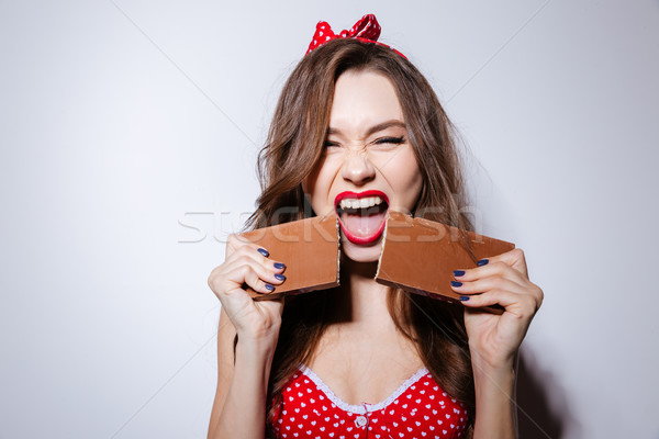 Model in underwear with chocolate Stock photo © deandrobot
