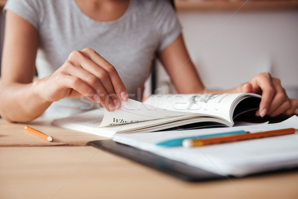 Cropped image of young woman reading magazine. Stock photo © deandrobot