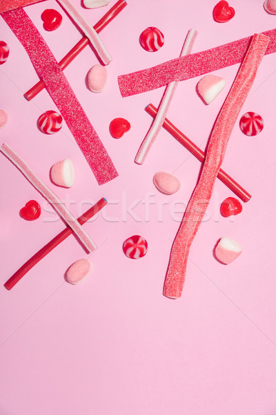 Mix of pink and red sugar jelly candies and lollies Stock photo © deandrobot