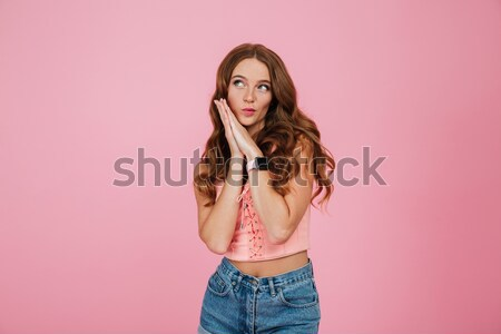 Smiling lady in 3d glasses drinking cola isolated over pink Stock photo © deandrobot
