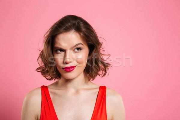 Foto stock: Retrato · mulher · bonita · brilhante · compensar