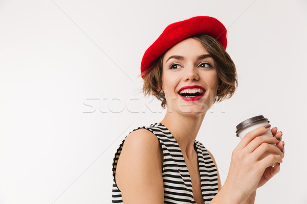 Portrait rire femme rouge béret Photo stock © deandrobot