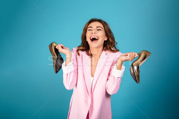 портрет удовлетворенный женщину розовый костюм смеясь Сток-фото © deandrobot