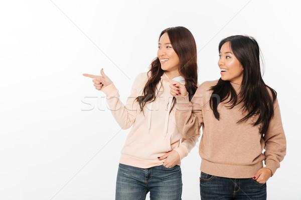 Deux asian joli heureux dames soeurs Photo stock © deandrobot