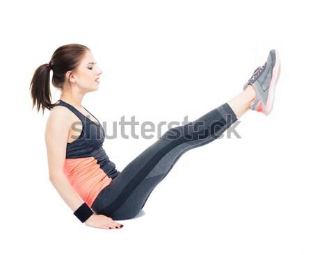 Fitnessz nő abdominális izolált fehér sport egészség Stock fotó © deandrobot