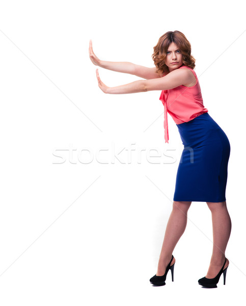 Gündelik kadın dur işareti avuç içi tam uzunlukta Stok fotoğraf © deandrobot