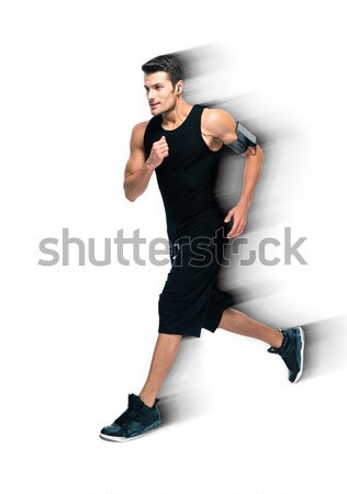 Handsome sports man running isolated Stock photo © deandrobot