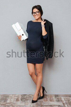Mujer hermosa gafas vestido retrato pie Foto stock © deandrobot