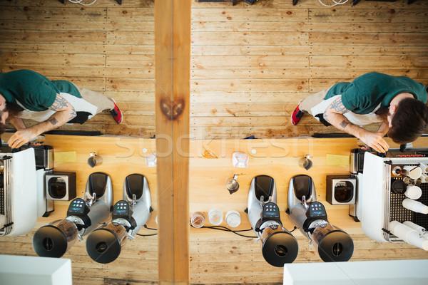 Barista café haut vue portrait café Photo stock © deandrobot