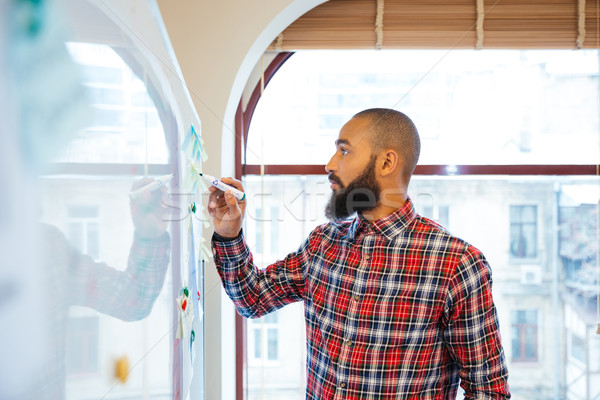 African man with beard standing and writing on whiteboard Stock photo © deandrobot