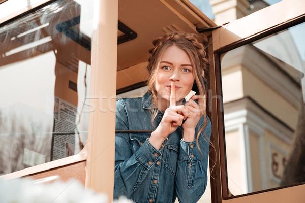 Boldog nő hív telefon doboz mutat Stock fotó © deandrobot