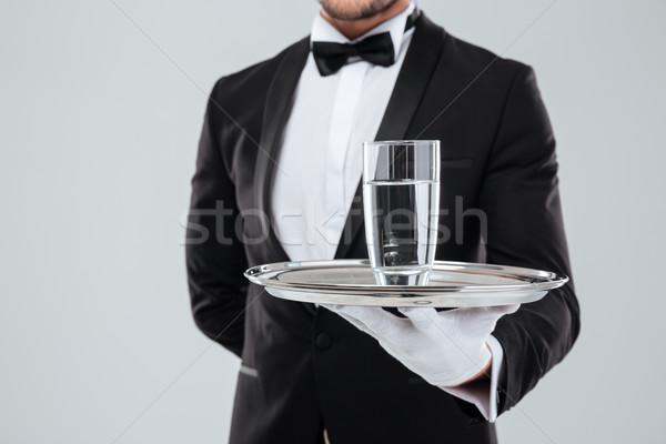 Butler handschoenen zilver dienblad glas Stockfoto © deandrobot