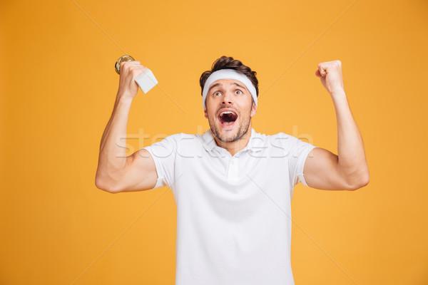 Feliz excitado jóvenes trofeo Foto stock © deandrobot