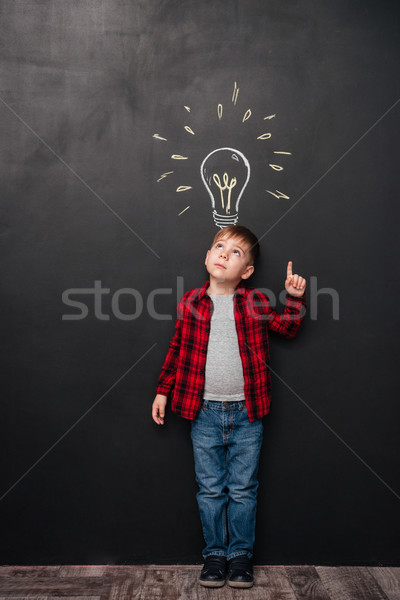 Little boy pointing up and having idea over chalkboard background Stock photo © deandrobot