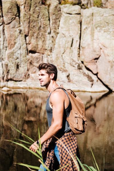 Portret avontuur man wandelen wildernis berg Stockfoto © deandrobot