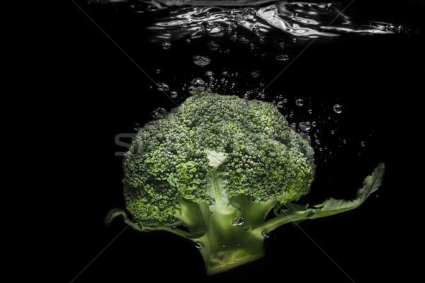 Friss brokkoli víz izolált fekete természet Stock fotó © deandrobot