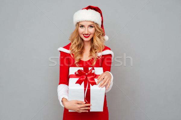 Wesoły kobieta czerwony christmas duży Zdjęcia stock © deandrobot