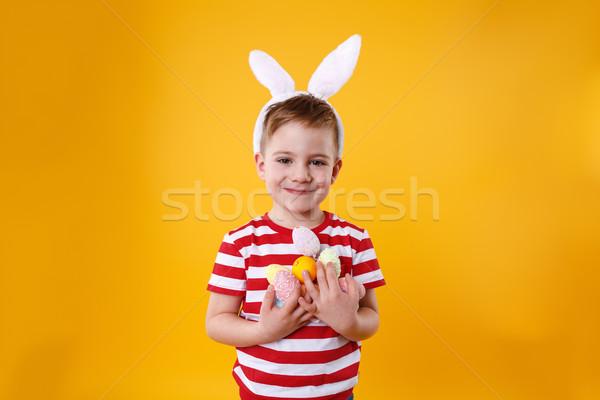 肖像 笑みを浮かべて 愛らしい 少年 着用 ストックフォト © deandrobot