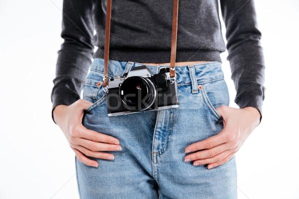 女性 ジーンズ レトロな カメラ 手をつない ストックフォト © deandrobot