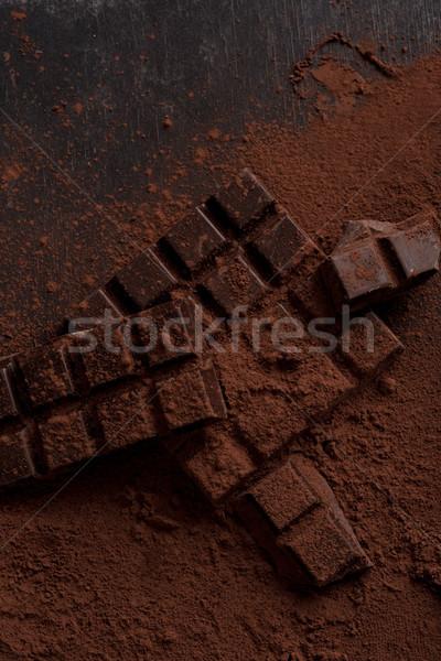 Koyu çikolata bar üst görmek lezzetli kapalı Stok fotoğraf © deandrobot