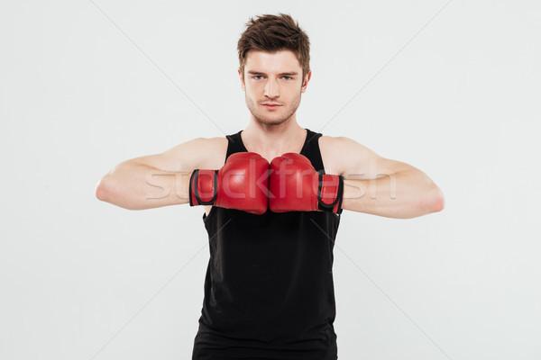 Koncentrált fiatal sportoló boxoló kép áll Stock fotó © deandrobot