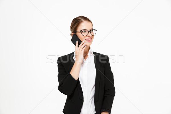 Stock fotó: Boldog · szőke · nő · üzletasszony · szemüveg · beszél · okostelefon